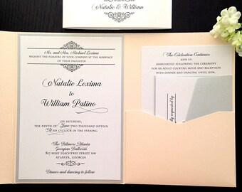 Wedding Invitation, Pocket Fold Invitation, Silver Wedding, Peach Wedding, ANY COLOR