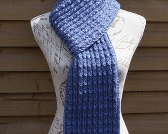 Hand Knitted Blue Color Hand-Knitted Acrylic Scarf