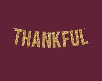 "Gold Sparkly ""Thankful"" Banner - Digital Printable Instant Download"