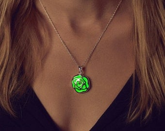 Rose Glow in the Dark Necklace - Green Glow Necklace - Glow in the Dark Jewelry  - Green Glowing Pendant - Gifts - Glowing Jewelry