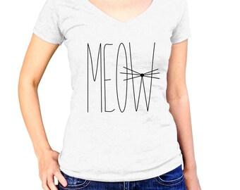 Meow Shirt - Cat TShirt - Crazy Cat Lover Gift - Kitty T-Shirt - Cute Kitten T Shirt - Pet Apparel - Animal Clothes - Fashion Clothing