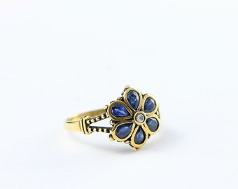 Sapphire and diamond floral style nature inspired ring in 9 carat antiqued oxidised gold for her