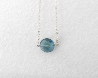 Blue flourite coin necklace. Statement gem jewelry. natural mineral crystalline ocean blue. faceted blue moon. 14k GF or sterling silver