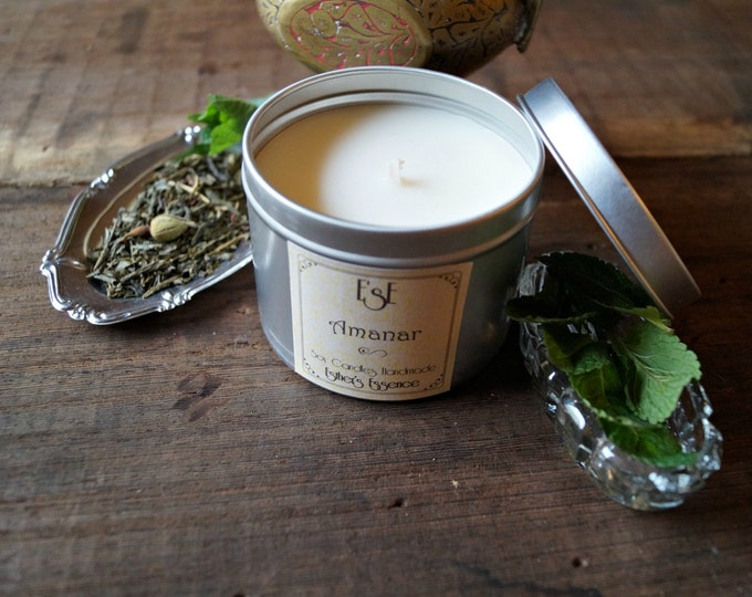 "Soy Candle, Green tea Mint, ""Amanar"" 6oz, Tin candle, Scented Candle, Favor, Home Decor, Natural Scent, Favors, Luxury candle, Wedding"