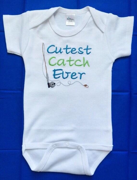 Fishing Onesie Cutest Catch Ever Baby Boy Embroidered Onesie