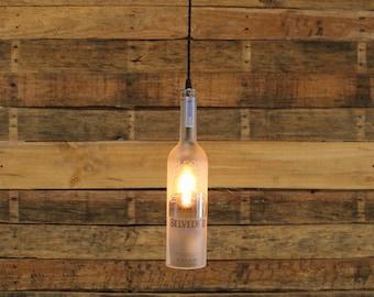 Belvedere Vodka Hanging Light-Upcycled Industrial Glass Ceiling Light-Handmade Vodka Bottle Light Fixture, Recycled Pendant Light