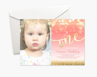 Baby Girl First Birthday Party Photo Invitation Coral Pink and Gold First Birthday Invitation Printable Photo Birthday Invitation Bokeh