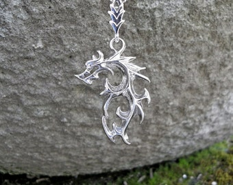 Dragon mascot immortality pendant, games amulet serpent choker, draco mythical hero pendant, stainless steel necklace dracon, film necklace,
