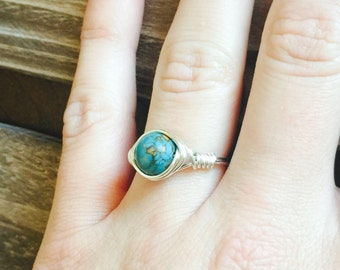 Silver Wire Wrapped Ring, Women's Turquoise Ring, December Birthstone Ring,  Wire Wrapped Turquoise Ring, Silver Wire Wrapped Rings