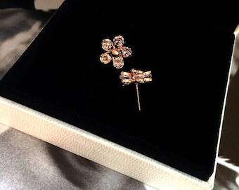 Diamond Flower Earring 18k Rose Gold Plum Flower Earring Crystal Earring Valentine's Wedding Bridal Bridesmaid Birthday Anniversary Gift