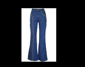 Rainbow vintage 70s 70's STYLE hippie high waist denim dress jeans pants trousers flares bell bottoms in sizes uk 8/10/12/14/16