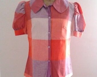 SALE / / / Vintage 1970's does 1940's Purple Orange Check Plaid Cotton Blouse Puff Sleeves Sz Med Large Lolita