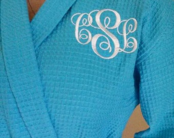 Personalized Waffle Robes FREE 3 Letter Mongram With Robe
