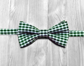 Green bow tie, Christmas bow tie, checkered bow tie, wedding bow tie, men's bow tie, women's bow tie, baby bow tie.