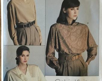 "VTG 1625 Vogue (1985) Vogue American Designer by Calvin Klein.  Misses' Blouse.  Size 8, Bust 31-1/2"". Complete, unused, FF. Excellent cond."