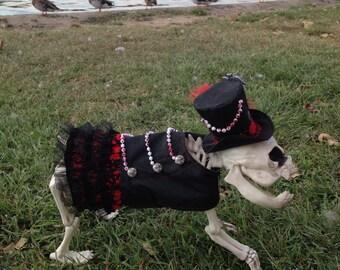 Gothic Wedding Female Dog costume, Steampunk, Bridesmaid, Flower Girl, Hell Hound, Blood, Black lace, Splatter, Dog Costume, Black, Red