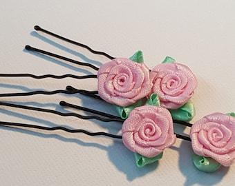 Pink flower hair pin. Pink rose bobby pin, floral bobby pins, pink floral hair pins. Bridesmaid rose bobby pin, flower girl hair pin