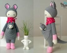 Kira the Kangaroo based on Lalylala pattern / Crochet toy kangaroo with a  baby for toddler or child / Birthday, Christmas present