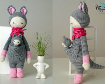 Kira the Kangaroo based on Lalylala pattern / Crochet toy kangaroo with a  baby for toddler or child / Birthday, Christmas present