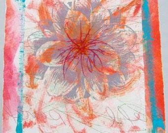Purple flower, original print