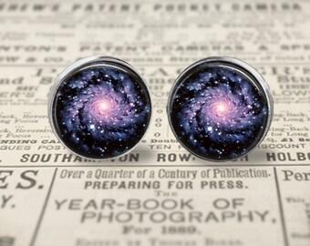 Galaxy Earrings, Space Earrings, Glass Picture Earring, Large 16mm Stud Earrings or Dangle, Space Jewelry, Astronomy Jewelry, Galaxy Jewelry