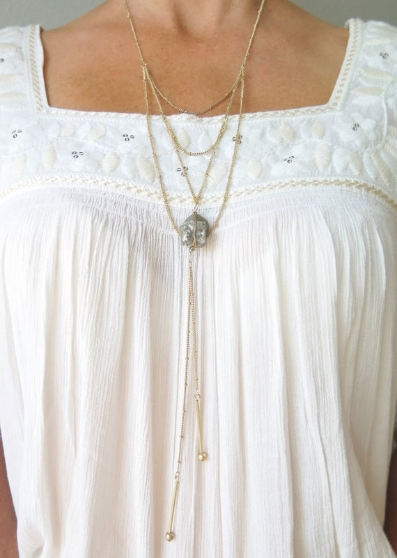 Boho Pyrite Beaded Chain Necklace Urban Gold Necklace Hippie Chick Industrial Multi Layered Chain Bar Tassel  Trendy Necklace