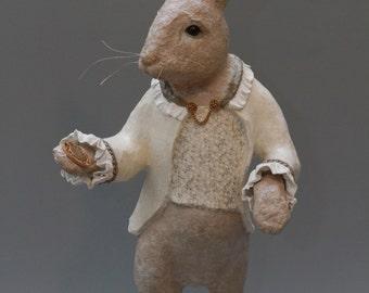 White Rabbit from Alice in Wonderland paper mache