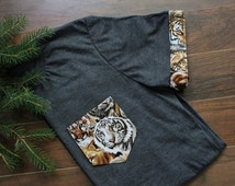 Big Cats Men T-Shirt Pocket & Sleeves