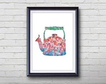 Vintage Kettle Print - Home Living - Kitchenware Painting - Kitchen Wall Art - Wall Decor - Home Decor, House Warming Gifts