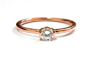 Diamond Solitaire Ring-14K Gold Solitaire Ring-Rose Gold Ring-14K Gold Handmade Solitaire Ring