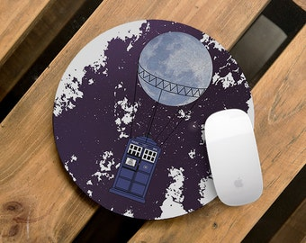 Mouse Pad Doctor Who Mousepad Tardis Mouse Mat Police Box Mouse Pad Office Mousemat The Doctor Time Machine Mousemat Print Mousepad Round
