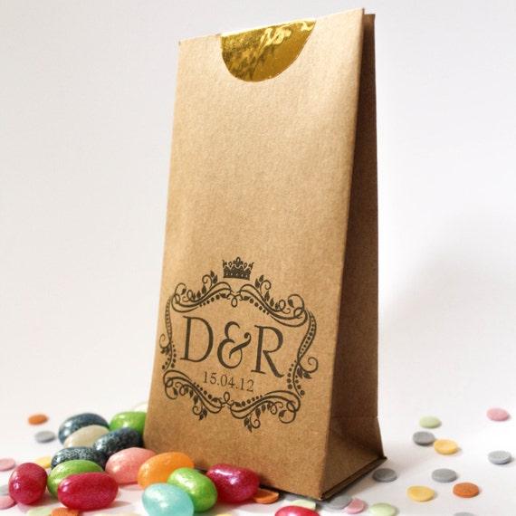 Mini Personalised Wedding Favour Bags ~ Kraft Paper Bag ~ Favour Bag ...