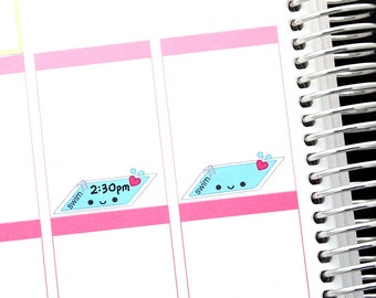 Happy Swimming Pool Reminder Cute Kawaii Planner Stickers Erin Condren Midori Notebook Scrapbook Swim Lessons Class Party Meet