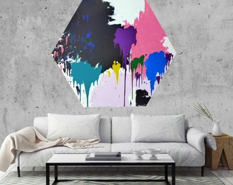 Large Abstract Art Painting | Modern Abstract Art | Hexagon Abstract Art | Original Abstract Painting | Home Decor | 41'x46.5' Canvas