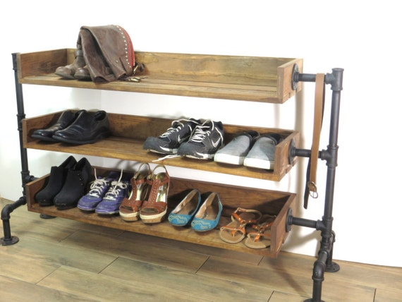 Industrial Pipe Shoe Storage, Shoe Rack, Shoe Organizer, Black Iron Pipe Entryway Shoe Shelving
