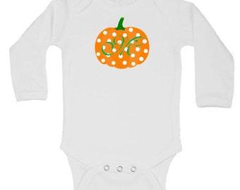 Monogram Pumpkin Onesie, Fall Thanksgiving Onesie, Baby Girl First Thanksgiving Onesie, Personalized Fall Onesie, Pumpkin Patch Outfit