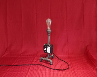 Pipe Table Lamp, Charging Station, Black Pipe Light, Edison Bulb, Industrial Light
