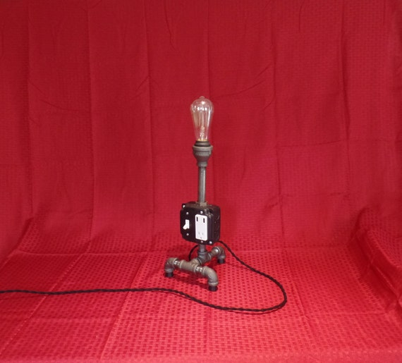 Pipe Table Lamp Charging Station Black Pipe Light Edison