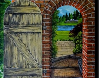 "Trompe l'oeil painting, old door wooden and brick opened onto a garden ""Old Garden Gate"""