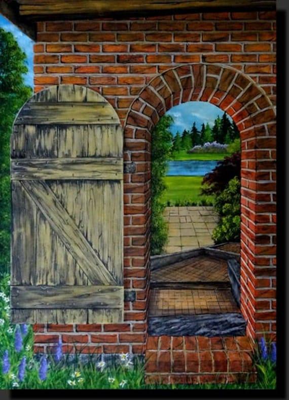 peinture trompe l 39 oeil vieille porte en bois et briques. Black Bedroom Furniture Sets. Home Design Ideas