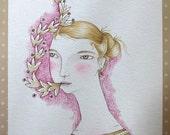 "Original Watercolour girl painting, ""Folk Tooth"""