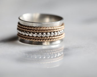 Goutte Spinner ring - silver and 14k Gold filled band, wedding band