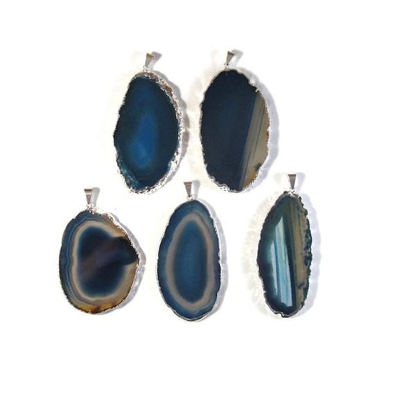 Blue Gemstone Pendant, Silver Plated Quartz Charm, Agate Slice Pendant, Bezel Set Gemstone (C-Ag15)