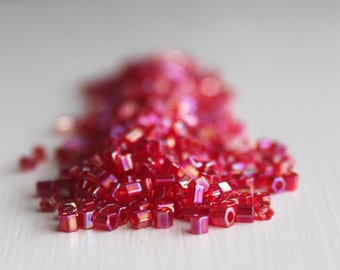 20g Rainbow Ruby Hexagon Size 8 TOHO Seed Beads