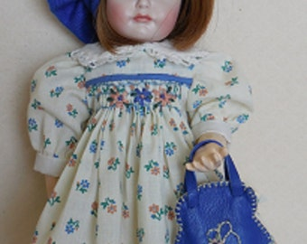 For Bleuette - Smocked/Embroidered Dress, Embroidered Slip, Beret and Purse