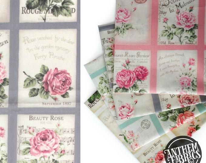Quilt Gate Rose Bouquet - RURU Rose for You - Postcard QG222011D Grey, 1 panel
