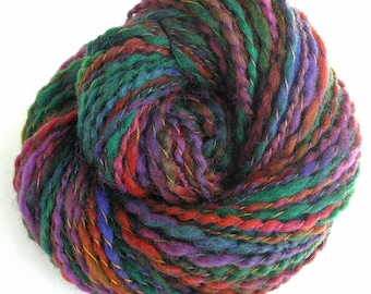 Handspun Yarn Hand Dyed Bulky Wool Yarn 163 yards - Autumn Color