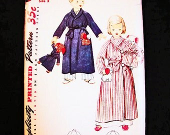 Toddler Robe Pattern size 3 with Stuffed Dog Pattern for Boys Robe and Girls Robe 1950s Vintage Sewing Pattern