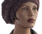 Beret Hat Boucle Grape Grey Wool Beret Hat French Beret Newsboy Hat Satin Lined Handmade