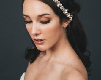 Rose Gold Headband   Rhinestone Headband   Rose Gold Headpiece   Wedding Hair Accessories   Pearl Bridal Hairband [Amara Headband]